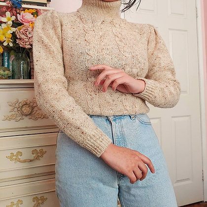80s Victorian Inspired Speckled Oatmeal Turtleneck, up to M
