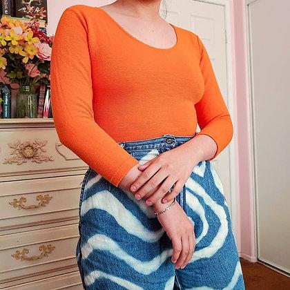 90s Orange Ribbed Bodysuit