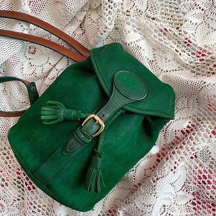 90s Dooney & Bourke Restored Green Nubuck Mini Backpack