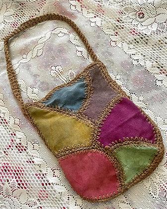 Late 60s Boho Colorblock Suede & Jute Shoulder Bag