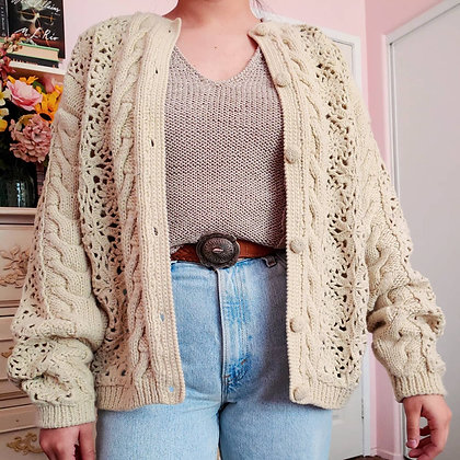 90s Cable & Crochet Knit Cardigan, up to XL