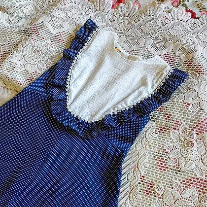 70s Polka Dot Maxi Dress, M