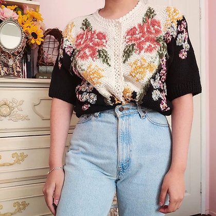 90s Floral Short Sleeve Cardigan, up to XL fitted