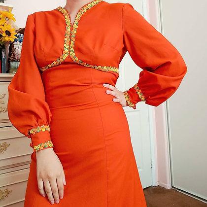70s Orange Bishop Sleeve Dress, XS