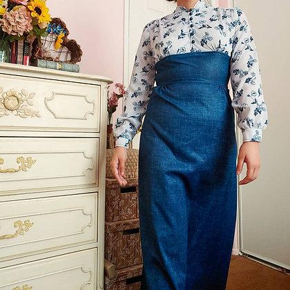 70s Poppy Flower Prairie Dress, XS