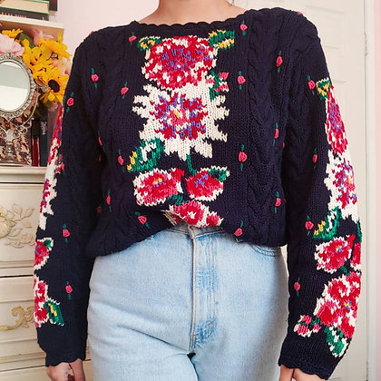 90s Navy Floral Sweater, up to XL fitted