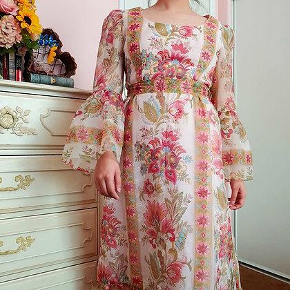 60s Bell Sleeved Paiseley & Velvet Dress, M