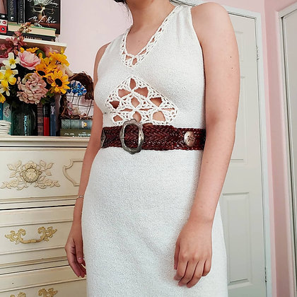 60s White Cut Out Knit Maxi Dress, S/M
