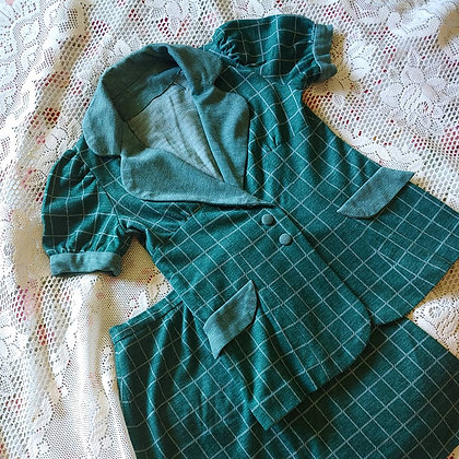 60s Green Window Pane Knit Set, XS/S
