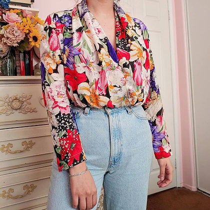 90s Floral 100% Silk Peplum Blouse, up to M