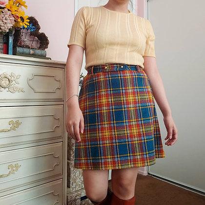 60s Plaid Mini Skirt & Belt, S/M