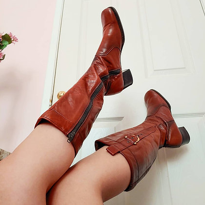 60s Brevitt Brown Square Toed Boots, 8 N