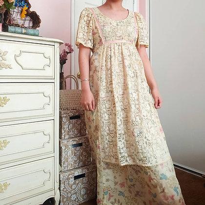 70s Joy Stevens Fall Babydoll Dress, S