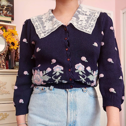 80s Floral Cardigan with Large Lace Collar, up to M