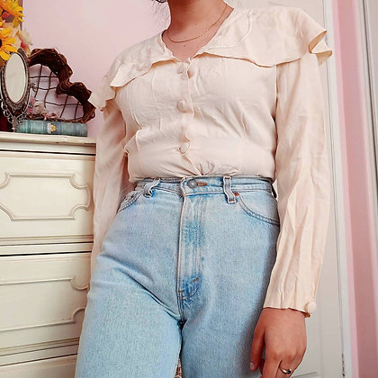 80s Creme Ruffled Collared Top, up to M