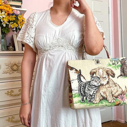 70s Cotton & Crochet Maxi Dress, S/M