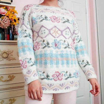 90s Floral Multi-Print Silk Blend Sweater, up to M