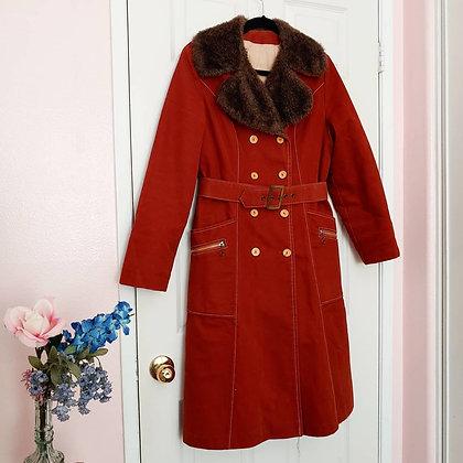 70s Rustic Orange Faux Fur Coat, up to M