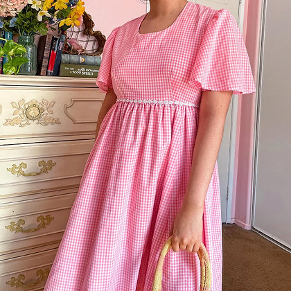 70s Pink Gingham Flutter Sleeve Maxi Dress, L