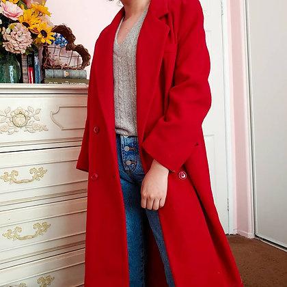 80s Red Wool Blend Midi Length Coat, M/L
