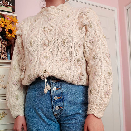 80s Floral Cable Knit Sweater, up to L