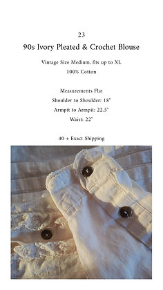 23 - 90s Ivory Pleated Crochet Blouse, up to XL, 12 oz