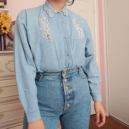 90s Chambray Denim Embroidery Cut Out Top, up to XL fitted