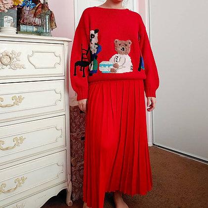 90s Berek Red Pleated Skirt, S-L