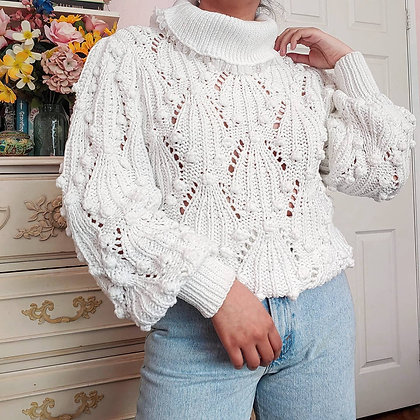 80s White Pom Pom Turtleneck with Balloon Sleeves, up to L fitted