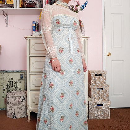 60s Victorian Inspired Floral Dress, XS/S