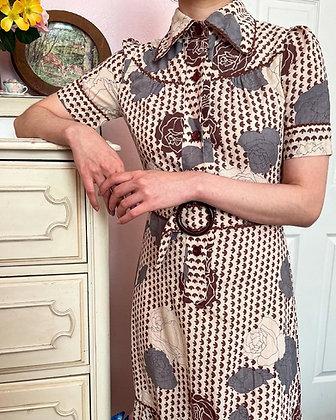 70s Floral Maxi Dress, XS/S