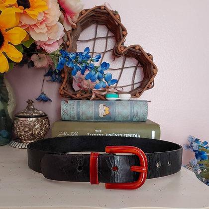 60s Black Leather & Lucite Belt, M/L