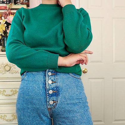 *Reserved* 60s Cashmere Emerald Crewneck Sweater, M/L