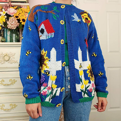 90s Picket Fence Garden Cardigan, up to L fitted