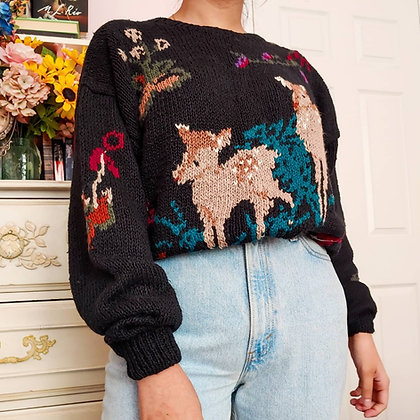 20 - 90s Rare NWT Hand Knit Deer Sweater, up to XL, 1 pound 14 oz