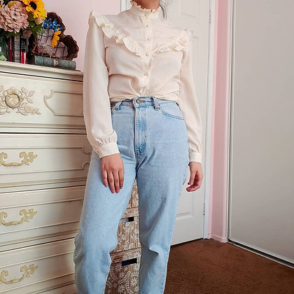 80s Victorian Ivory Top, S/M