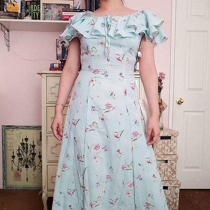 90s NWT Blue Floral Dress