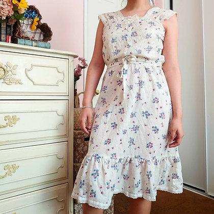 70s Floral Prairie Dress, S/M