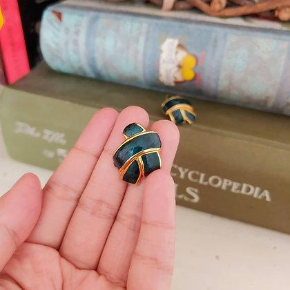 80s Emerald Enamel Earrings
