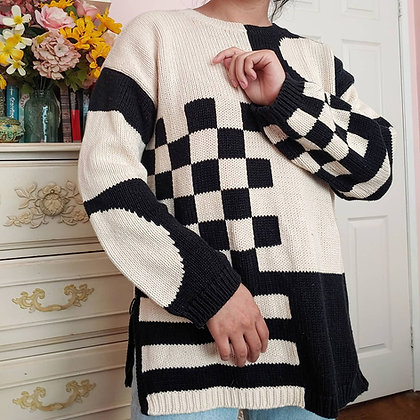 90s Geometric Multi-Print Sweater, up to L