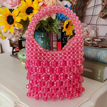 *Reserved* 60s Pink Beaded Mini Handbag