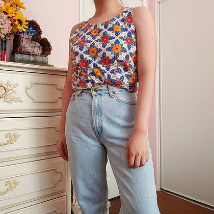 60s Floral Swing Top, up to M