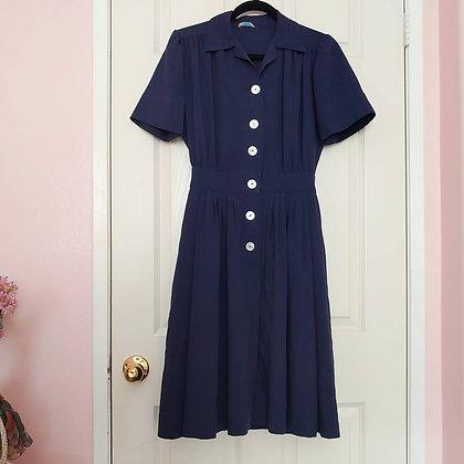 40s Navy Button Down Dress, XS