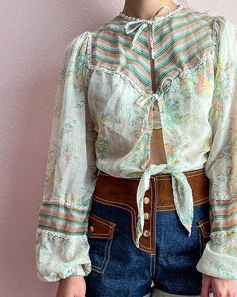 70s Floral & Stripe Crop Top, S
