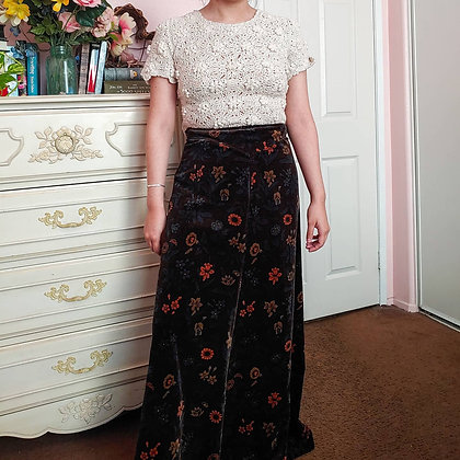 """70s Velveteen Floral Maxi Skirt, 28"""""""