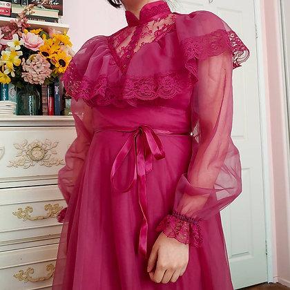 70s Victorian Inspire Maxi Dress, S