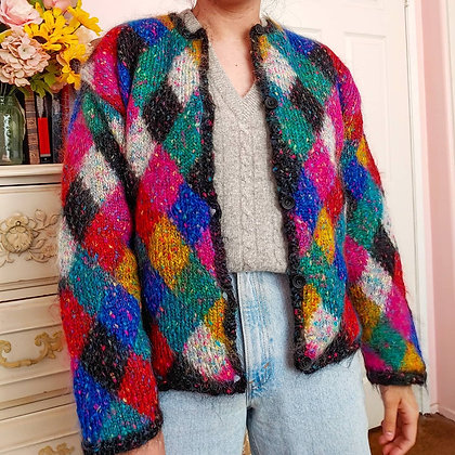 1998 Rainbow Diamond Cardigan, up to XL fitted