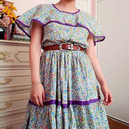 60s Floral Square Dancing Dress, L/XL