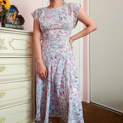 80s Pastel Garden Dress, S