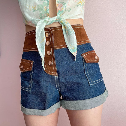 """60s High Waisted Faux Suede & Denim Shorts, 26"""""""